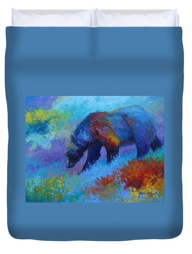 Western Duvet Cover featuring the painting Denali Grizzly Bear by Marion Rose