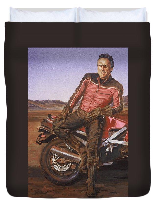 Dennis Hopper Duvet Cover featuring the painting Dennis Hopper by Bryan Bustard