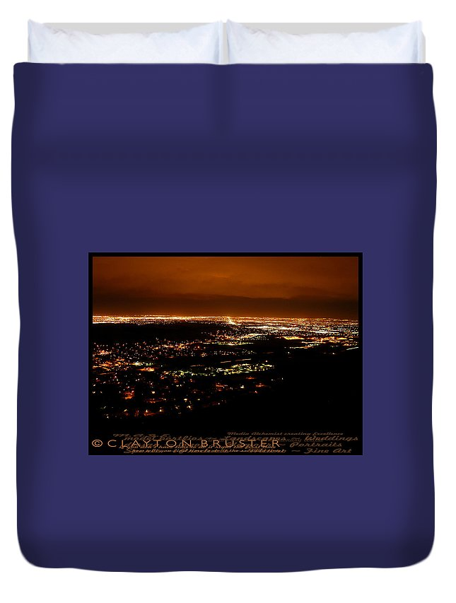 Clay Duvet Cover featuring the photograph Denver Area At Night From Lookout Mountain by Clayton Bruster
