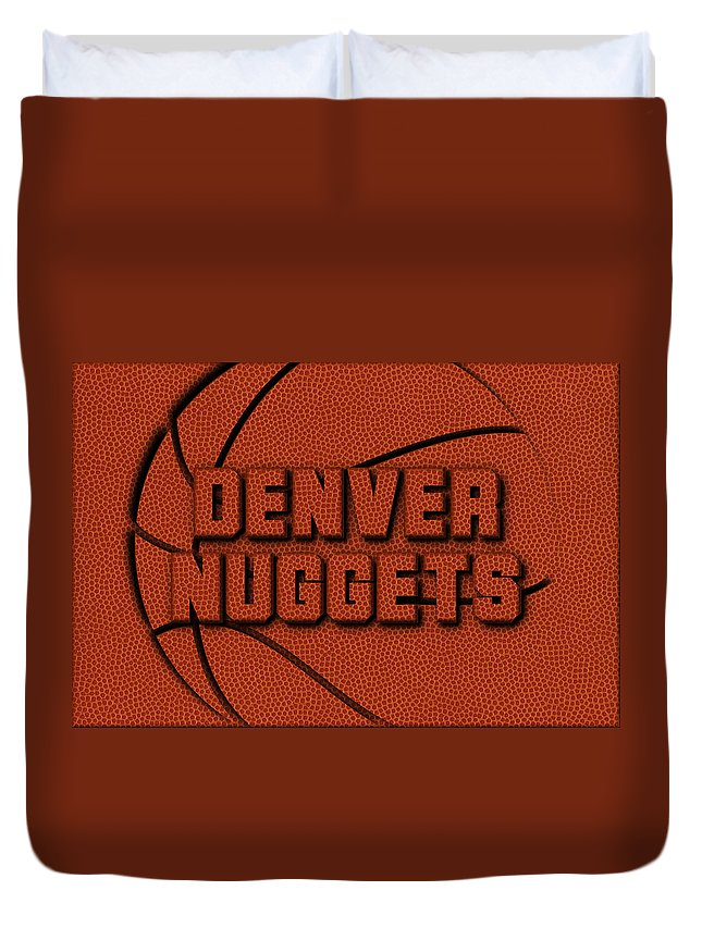 Nuggets Duvet Cover featuring the photograph Denver Nuggets Leather Art by Joe Hamilton