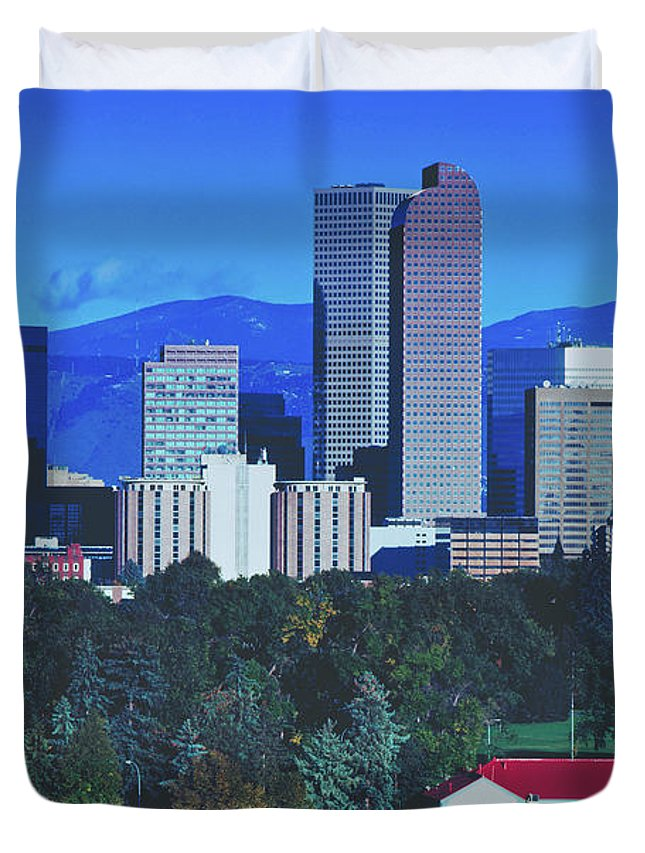 Denver Duvet Cover featuring the photograph Denver Skyline by Library Of Congress
