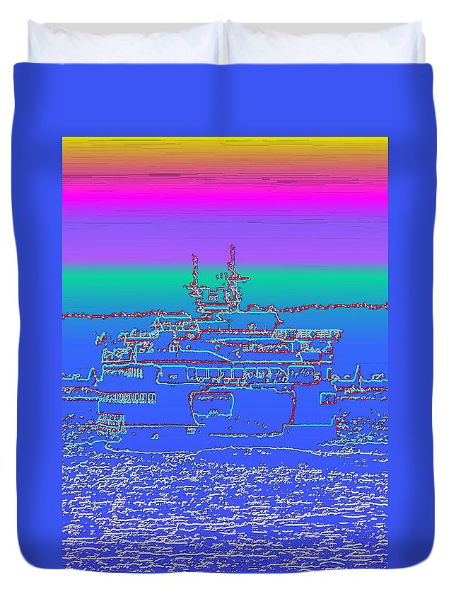 Digital Photo Manipulation Duvet Cover featuring the photograph Departing Ferry by Tim Allen