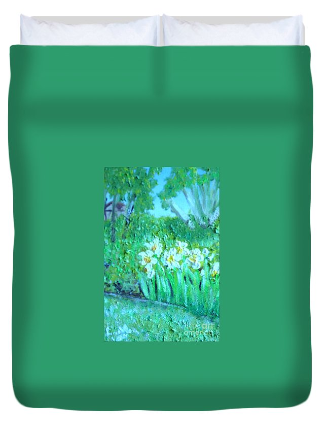 Daffodils Duvet Cover featuring the painting Dependable Daffodils by Laurie Morgan
