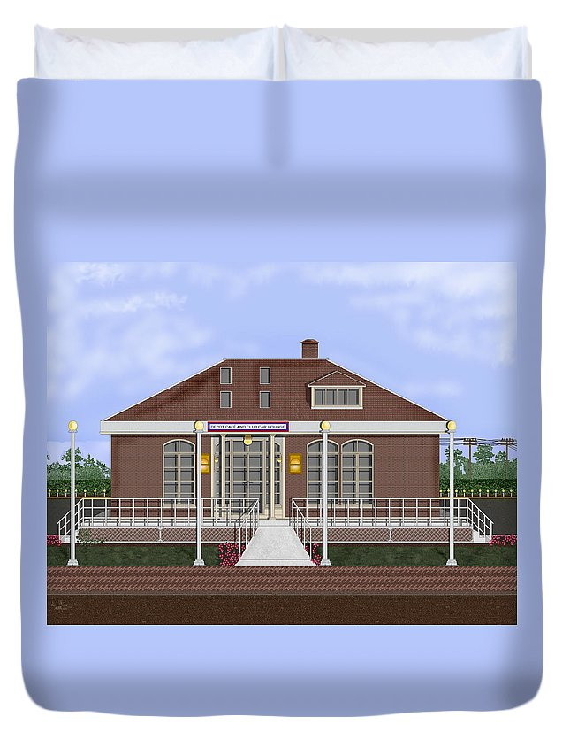 Anne Norskog Duvet Cover featuring the painting Depot Cafe And Club Car Lounge by Anne Norskog