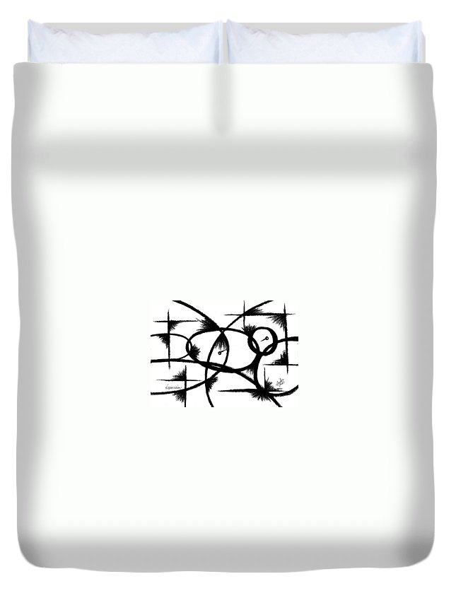 Modernist - Contemporany Duvet Cover featuring the drawing Depression I by Arides Pichardo