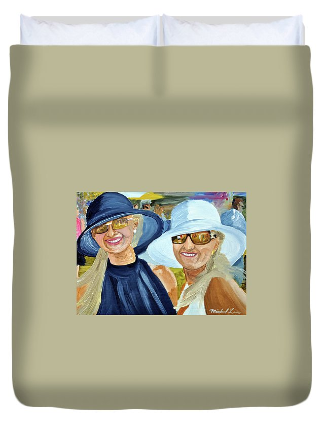 Girls Duvet Cover featuring the painting Derby Girls by Michael Lee