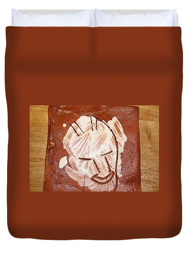 Jesus Duvet Cover featuring the ceramic art Derek - Tile by Gloria Ssali