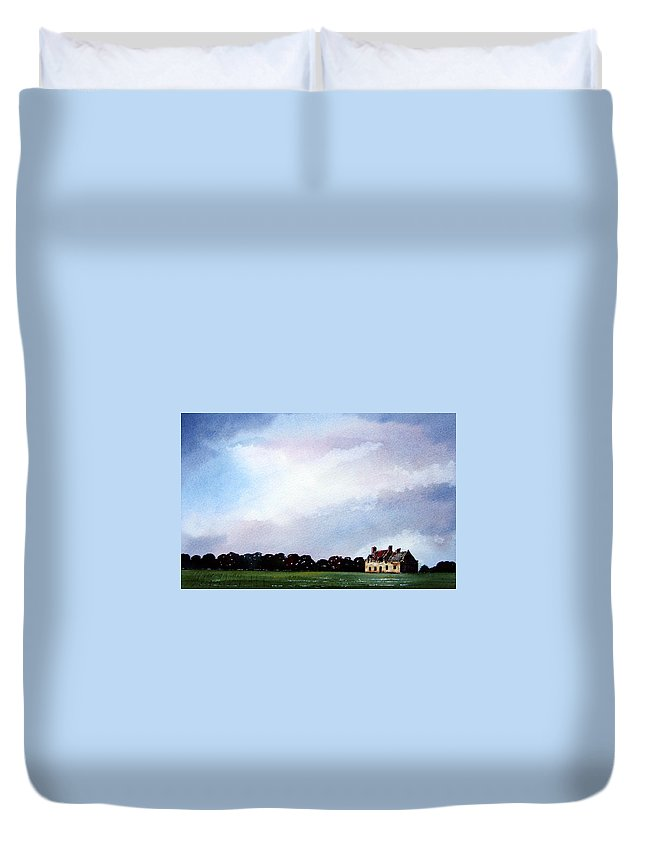Watercolour Duvet Cover featuring the painting Derelict Farmhouse Near Malton by Paul Dene Marlor