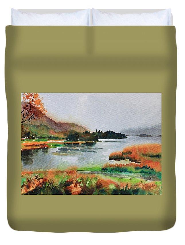 Derwentwater Duvet Cover featuring the painting Derwentwater by Ibolya Taligas