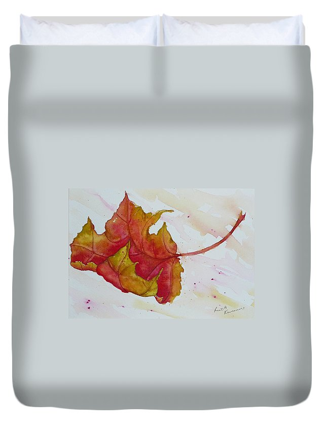Fall Duvet Cover featuring the painting Descending by Ruth Kamenev