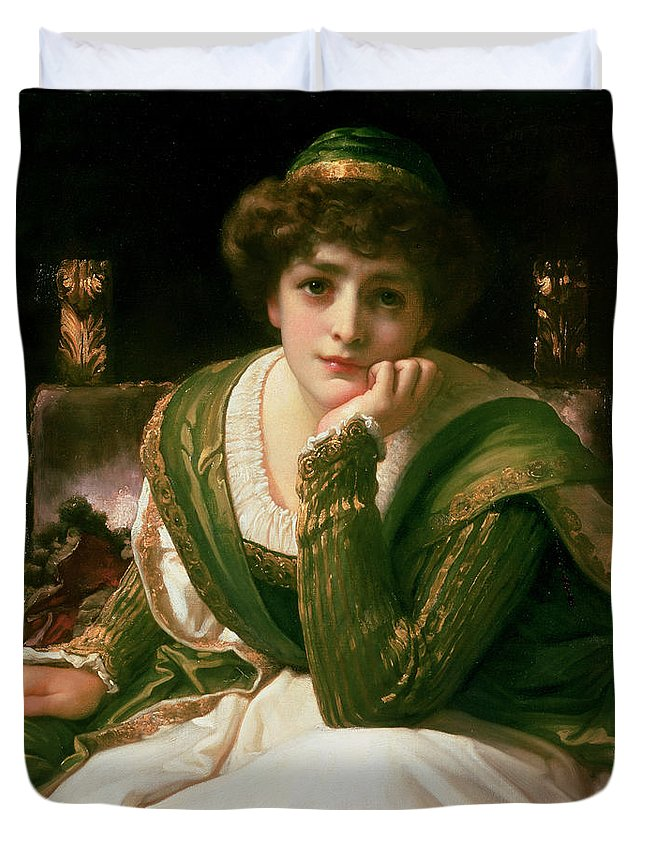 Desdemona Duvet Cover featuring the painting Desdemona by Frederic Leighton
