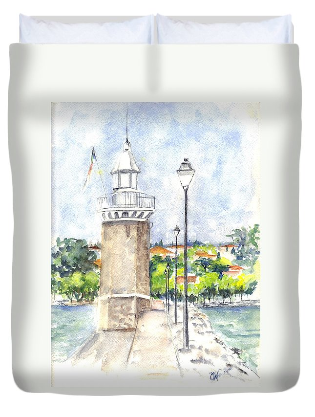Lighthouse Duvet Cover featuring the painting Desenzenzo Lighthouse And Marina In Italy by Carol Wisniewski