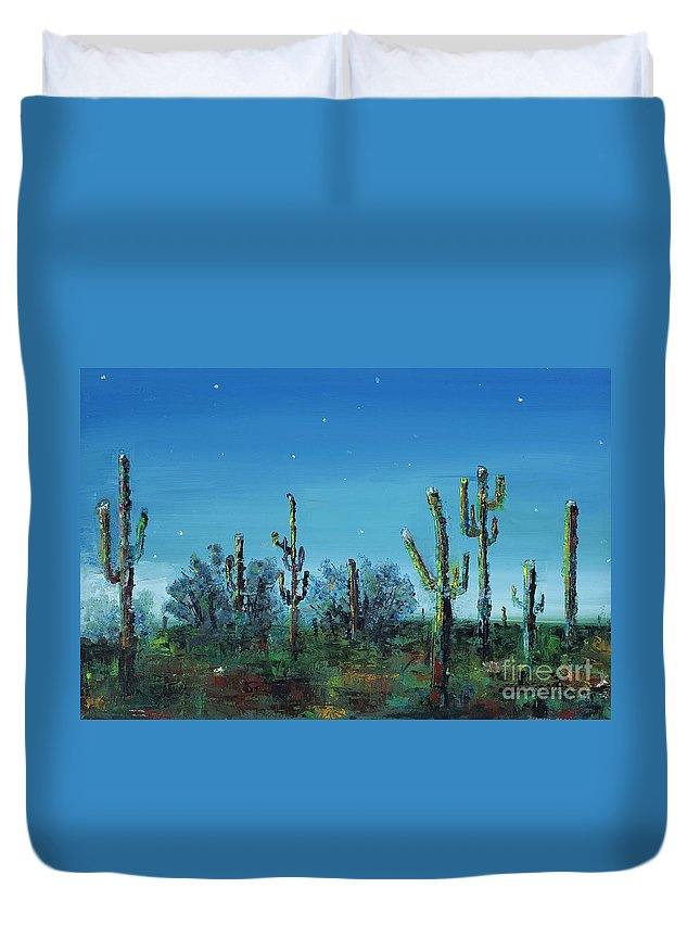 Desert Saguaro Catus In Bloom Duvet Cover featuring the painting Desert Blue by Frances Marino