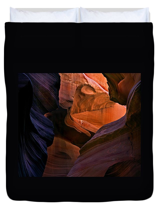 Sandstone Duvet Cover featuring the photograph Desert Bridge by Mike Dawson