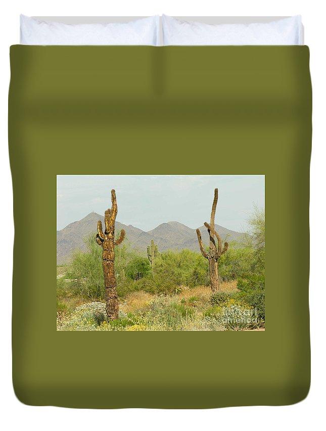 Cactus Duvet Cover featuring the photograph Desert Cactus by Diane Greco-Lesser