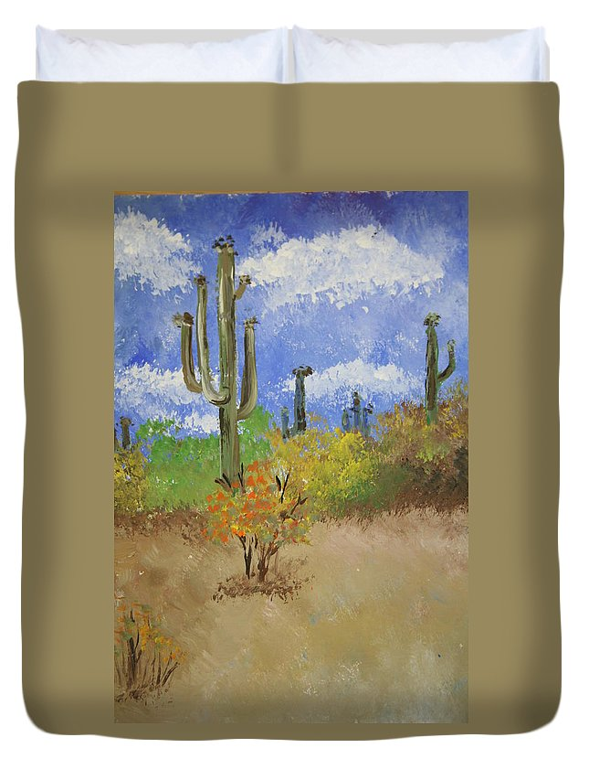 Cactus Duvet Cover featuring the pastel Desert Cactus by Melissa Wiater Chaney