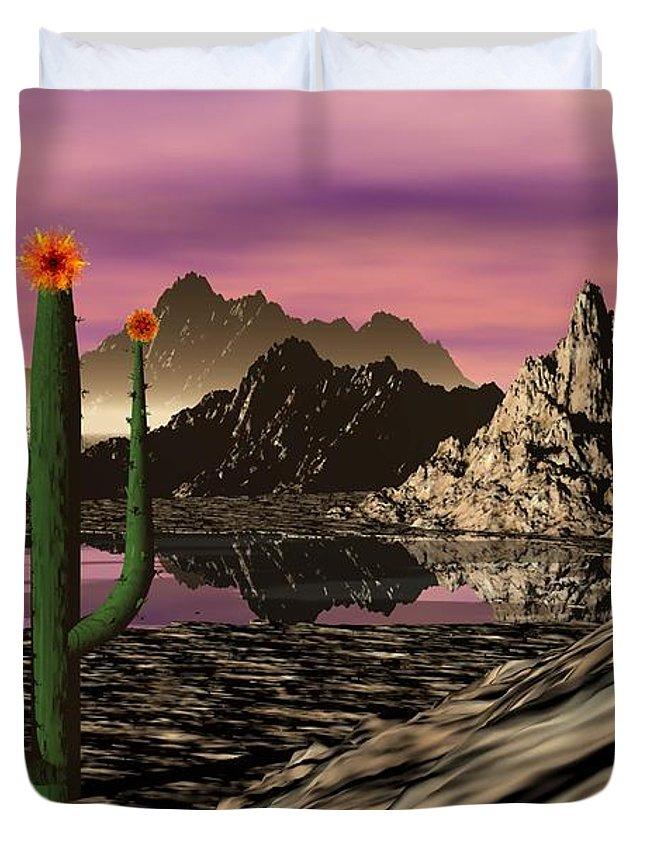 Digital Painting Duvet Cover featuring the digital art Desert Cartoon by David Lane