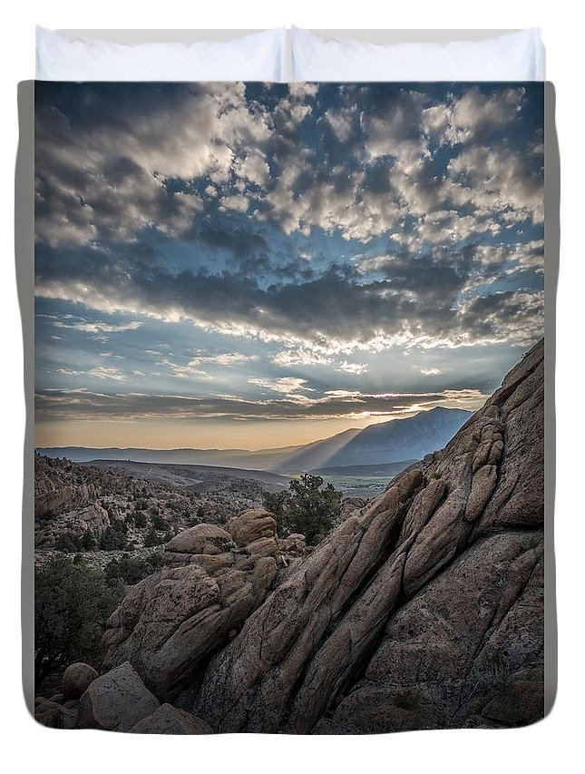 Usa Duvet Cover featuring the photograph Desert Clouds by Christian Heeb