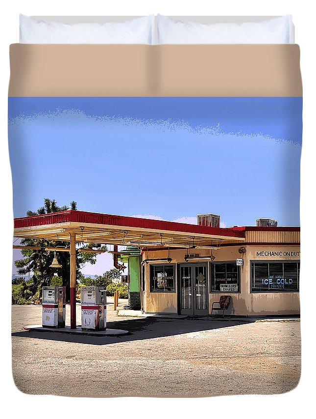 Pop Art Duvet Cover featuring the photograph Desert Gas by Dominic Piperata