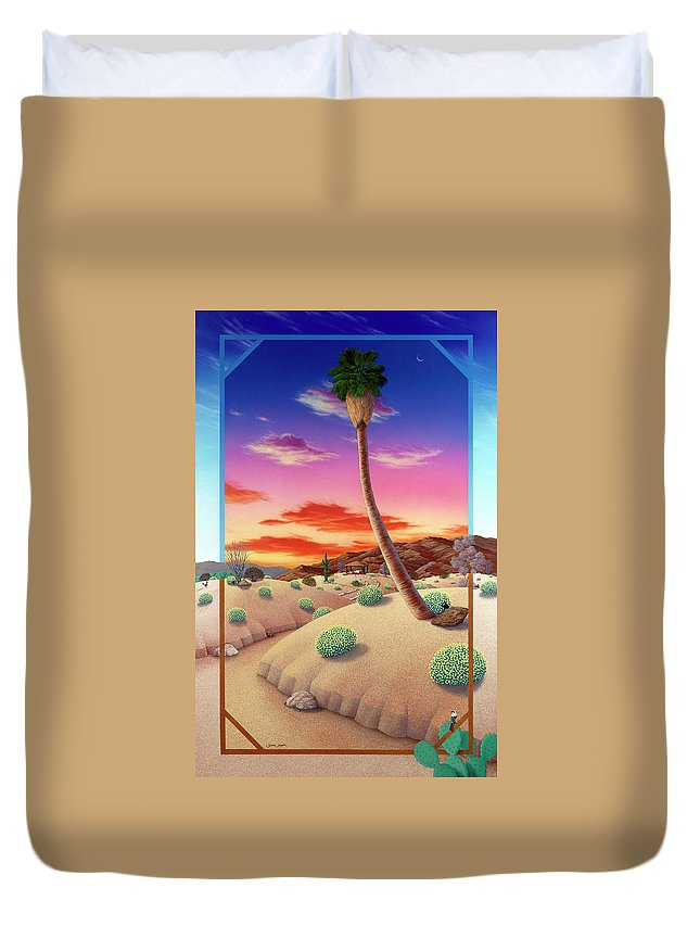 Landscape Duvet Cover featuring the painting Desert Gazebo by Snake Jagger