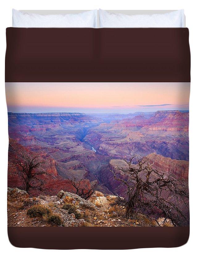 Dawn Duvet Cover featuring the photograph Desert Glow by Mike Dawson