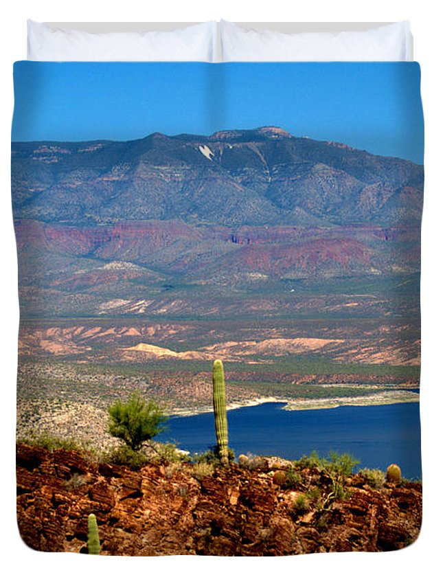 Desert Duvet Cover featuring the photograph Desert Lake by Bob Welch