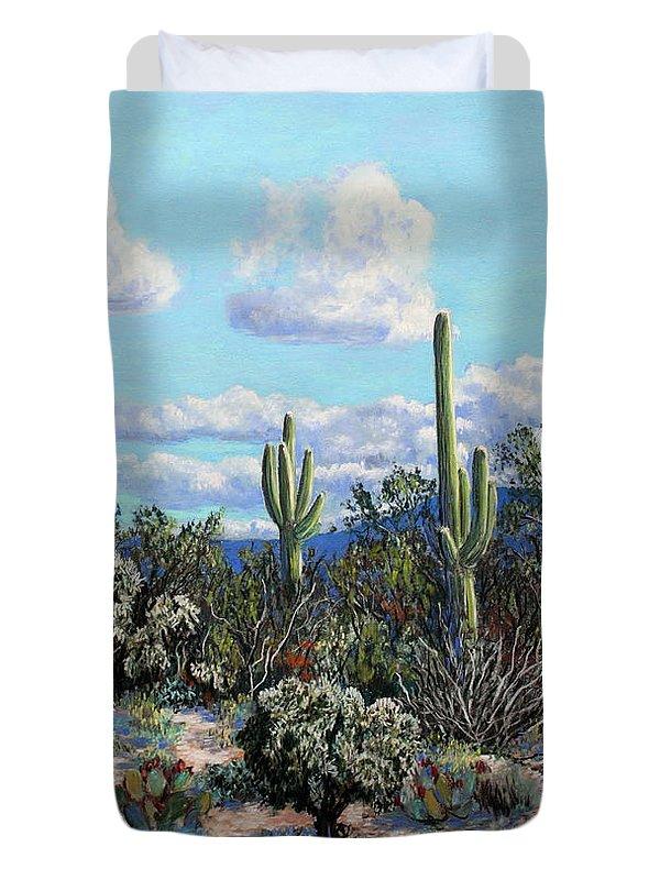 Cactus Duvet Cover featuring the painting Desert Landscape by M Diane Bonaparte