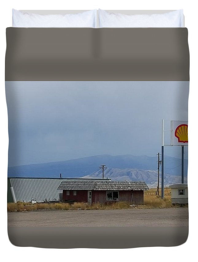 Land Mountain Mountains Middle Of Nowhere Sky Blue Beautiful Gas Station Clouds Storm Ahead Perfect Duvet Cover featuring the photograph Desert Oasis by Dusti Robertson