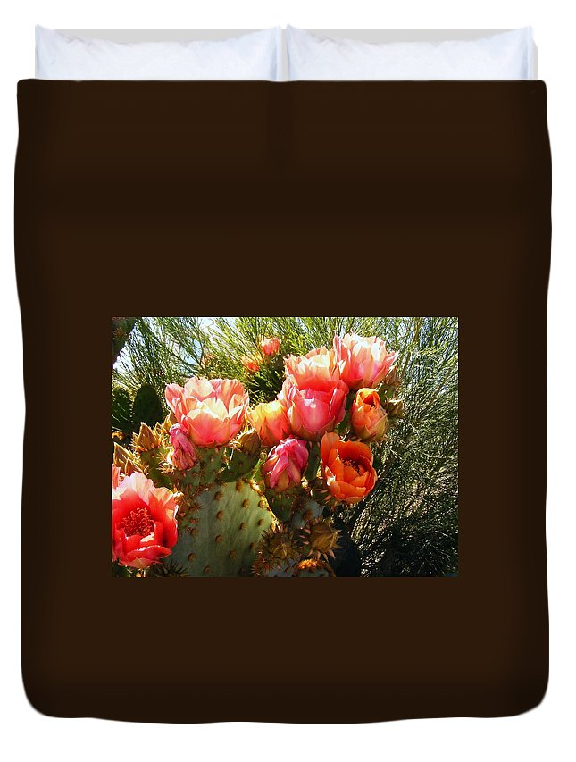Cactus Blooms Duvet Cover featuring the photograph Desert Perfection by Marilyn Smith