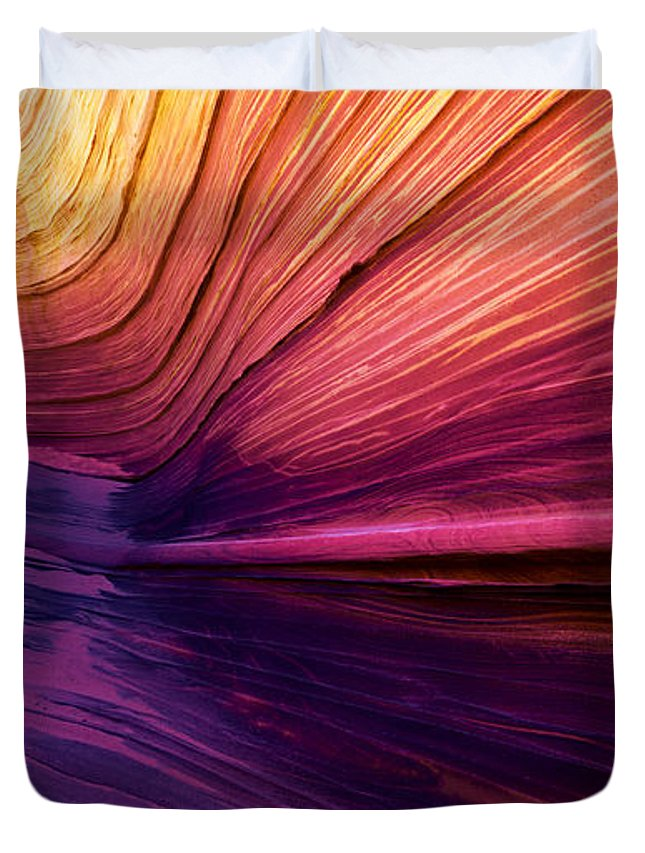 Desert Duvet Cover featuring the photograph Desert Rainbow by Chad Dutson
