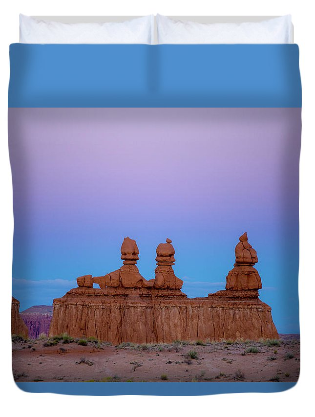 Three Sisters Duvet Cover featuring the photograph Desert Sisters by Photopoint Art
