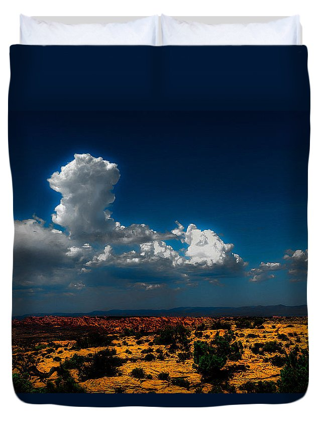 Landscape Duvet Cover featuring the photograph Desert Sky by Dean Arneson