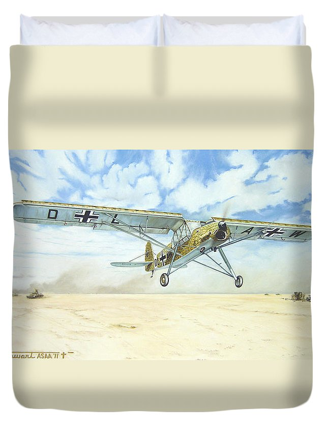 Wwii Duvet Cover featuring the painting Desert Storch by Marc Stewart