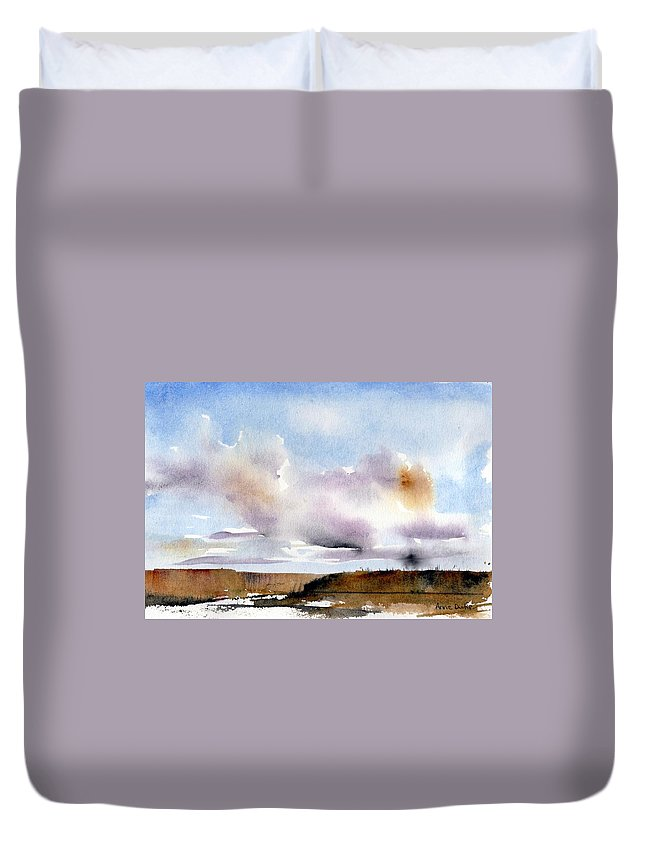 Storm Duvet Cover featuring the painting Desert Storm by Anne Duke