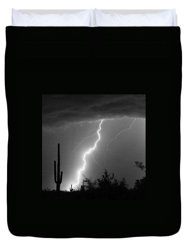 Black And White Duvet Cover featuring the photograph Desert Striking In Black And White by James BO Insogna