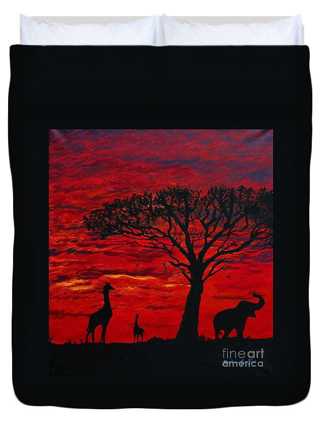 Barbara Griffin Duvet Cover featuring the painting Desert Sunset 3 by Barbara Griffin