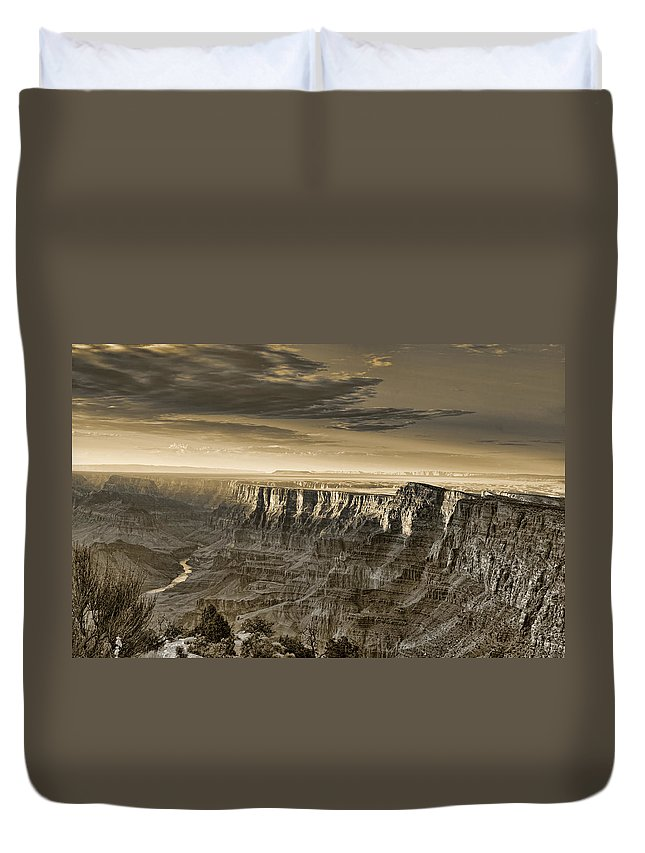 Grand Duvet Cover featuring the photograph Desert View - Anselized by Ricky Barnard