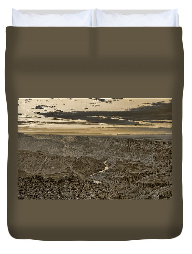 Grand Duvet Cover featuring the photograph Desert View II - Anselized by Ricky Barnard