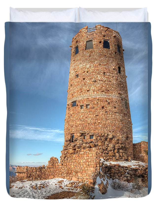 Clarence Holmes Duvet Cover featuring the photograph Desert View Watchtower by Clarence Holmes