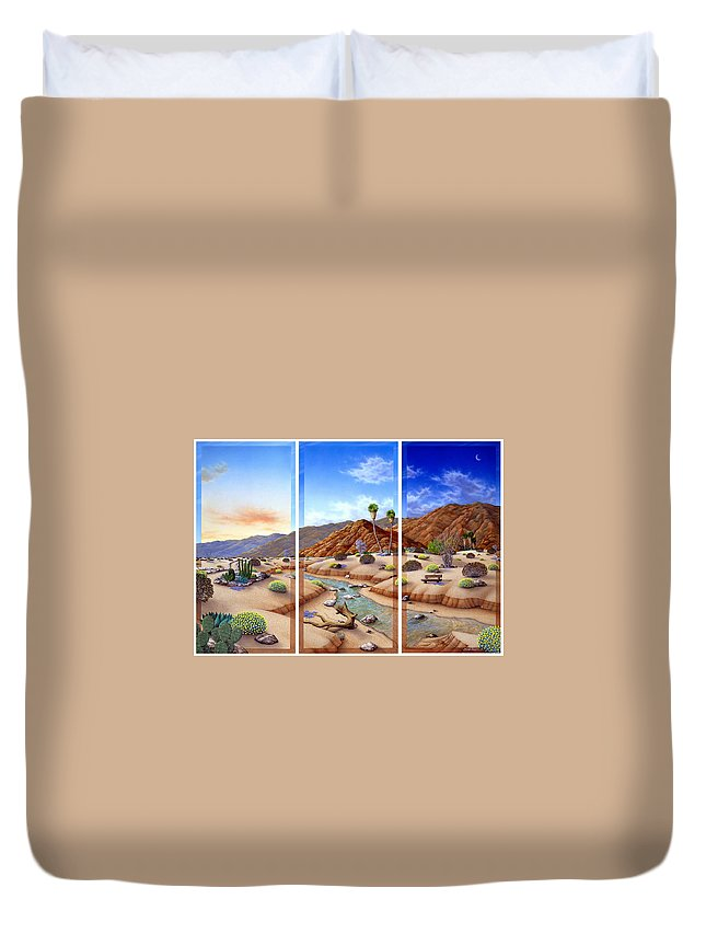 Landscape Duvet Cover featuring the painting Desert Vista by Snake Jagger