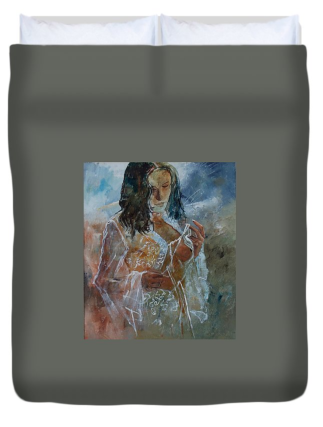 Nude Duvet Cover featuring the painting Deshabille 67 by Pol Ledent