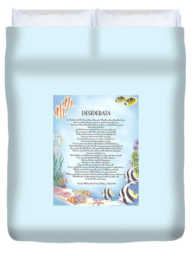 Desiderata Duvet Cover featuring the mixed media Desiderata 10 by Desiderata Gallery