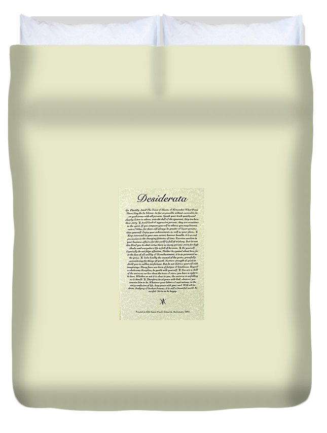 Desiderata Duvet Cover featuring the mixed media Desiderata 15 by Desiderata Gallery