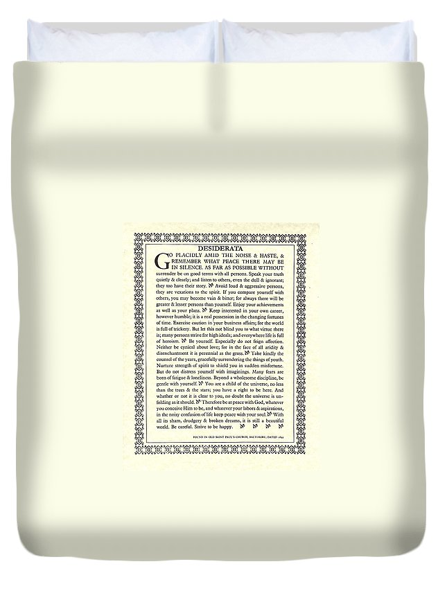 Desiderata Duvet Cover featuring the mixed media Desiderata 16 by Desiderata Gallery