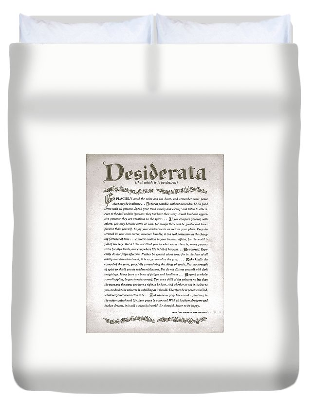 Desiderata Duvet Cover featuring the drawing Desiderata 3 by Desiderata Gallery