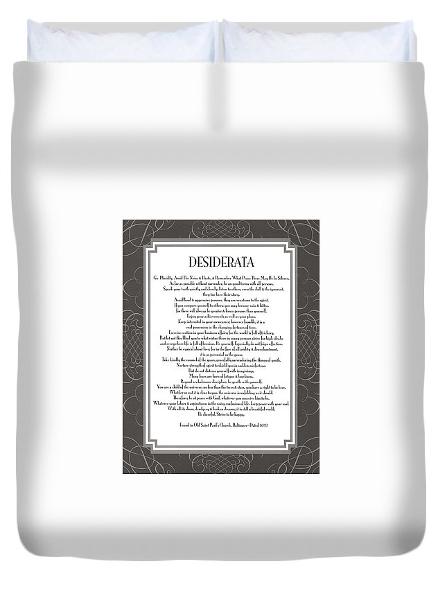 Desiderata Duvet Cover featuring the painting Desiderata 5 by Desiderata Gallery