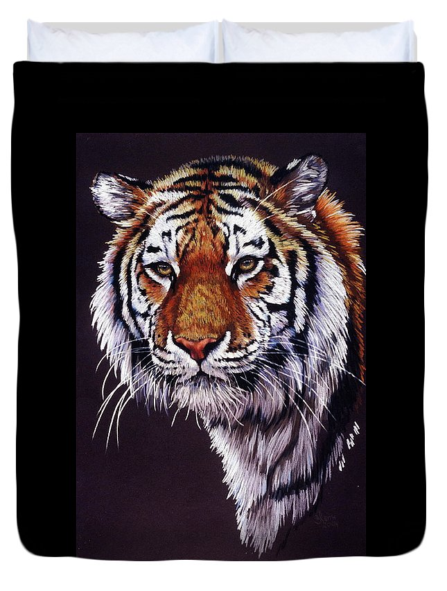 Tiger Duvet Cover featuring the drawing Desperado by Barbara Keith
