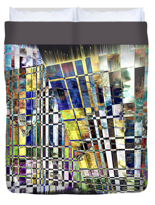 Abstract Duvet Cover featuring the digital art Desperate Reflections by Seth Weaver