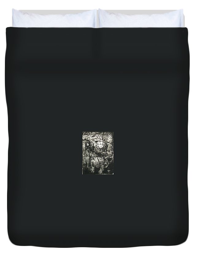 Etching Duvet Cover featuring the print Destroy Plate by Thomas Valentine