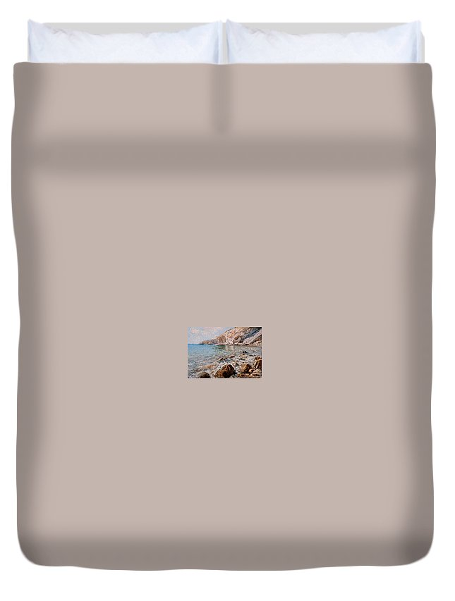 Seascape Duvet Cover featuring the painting Det by Sefedin Stafa